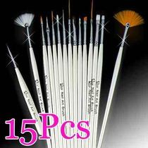 Kit De Pinceis 15 Pc Desenho E Decoração De Unhas Nail Art