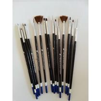 Kit 15 Unidades Pincel Unhas Art Nail Gel Uv Porcelana