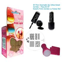 Kit Carimbo Konad + Placa M-57 + Esmalte La Femme Preto