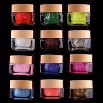 Kit Com 12 Gel Colorido Com Glitter Decoração Unhas/ Postiça