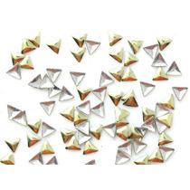 50 Apliques Unha Folheado Ouro Nail Art Mod Triângulo