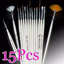 Kit 15 Pincéis P/ Unhas Artísticas Decoradas + Brinde