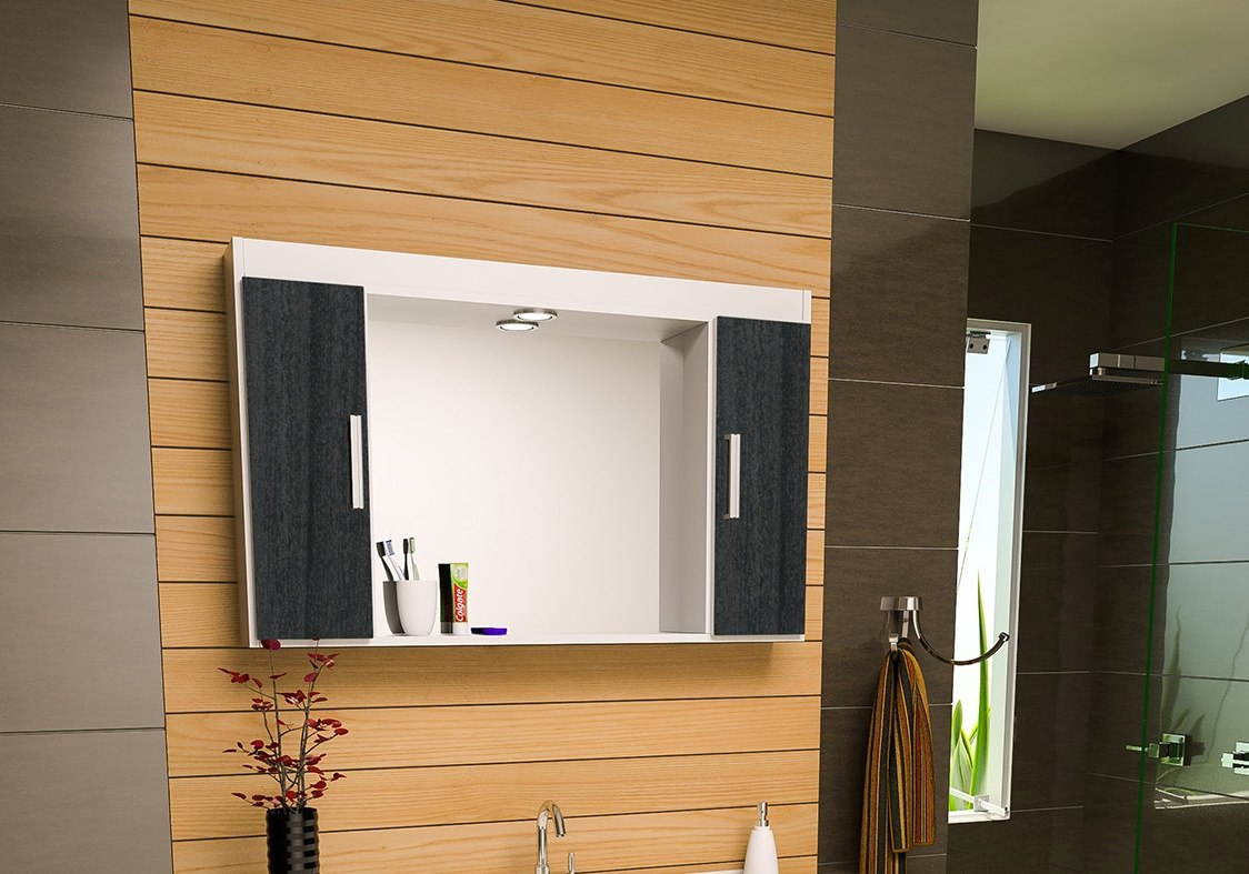 Espelheira Com Armário Para Banheiro San Marino R$ 229 90 no  #996832 1124x787 Aviso Para Banheiro Interditado