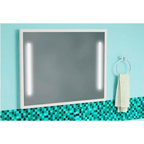 Espelho Com Luminária Embutida De 1m Moldura Branca Ref101l