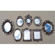 Kit 8 Mini Espelhos Prata Antigo + Coroa De Brinde : )