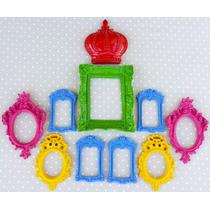 Kit 9 Espelhos Ou Molduras Coloridass + Coroa
