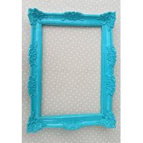Espelho Decorativo Moldura Em Resina Azul Turquesa