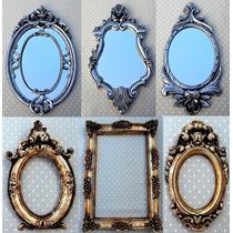 Kit 6 Espelhos Com Molduras Em Resina Ouro E Prata Velho