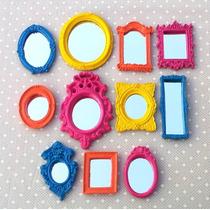 Kit 11 Mini Espelhos Coloridos Com Moldura De Resina