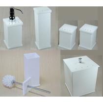 Kit Potes P/ Banheiro Acrílico Branco C/ Strass_persoalizado