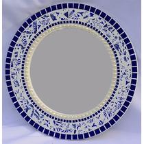 Espelho Com Mosaico Cerâmica, Pastilha E Meia Pèrola