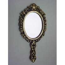 Espelho De Mão Em Bronze Todo Trabalhado Oval