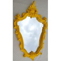 Espelho Veneziano Amarelo Laca Para Parede Sala Vintage