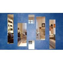 Kit Com 6 Espelhos Decorativos Sala Quarto Modelo Retângulo