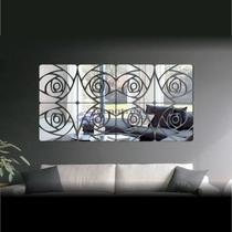 Espelho Decorativo Acrílico Rosas Moderna Casa Sala Quarto