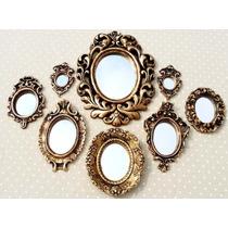 Kit 8 Espelhos Ouro Velho + Coroa De Brinde