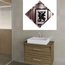 Espelho Com Bisote 40 X 40 Cm - Banheiro Promoção