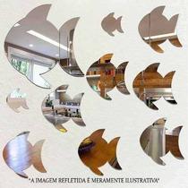 Kit Com 6 Espelhos Decorativos Casa Quarto Sala - Peixe