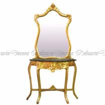 Aparador C/ Espelho Design Classico Europeu Folhado À Ouro