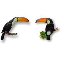 Peça De Parede, Tucanos Coloridos Para Decoração (02 Peças)