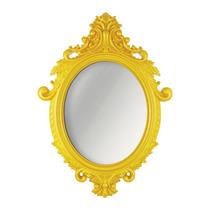 Espelho Oval Rococo Grande Com Moldura Amarela - 72x52,5 Cm