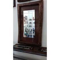 Espelho Com Moldura Rustica Peça Artesanal E Unica