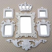 Kit 5 Espelhos Com Molduras Em Resina Branco Provençal