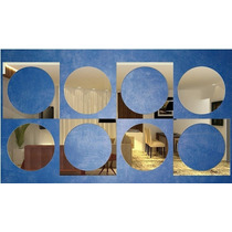 Kit Com 8 Espelhos Decorativos - Quadrados E Circulos