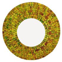 Espelho Redondo C/ Moldura Mosaico Dourado 60cm - Arte Bali