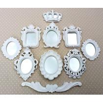 Kit 8 Espelhos Com Molduras Em Resina Branco Provençal