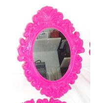 Conjunto 6 Espelhos Moldura Decoração Rosa Quarto Menina