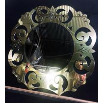 Espelho Bronze Bisote - Moldura Metal Dourado