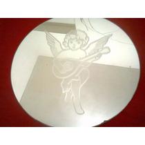 Espelho Redondo 25 Diam Com Desenho Jateado De Anjinho.