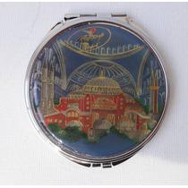 Mini Espelho Redondo Desenho Mesquita Santa Sofia Turquia