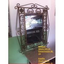 Espelho Em Ferro Trabalhado Pintado Ouro Velho