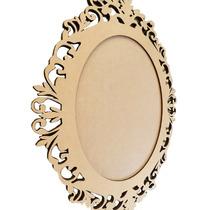 Moldura Para Espelho De Madeira Mdf Oval Arabesco 54.5x43 Cm
