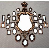 Kit 25 Molduras Decorativa Antique Ouro Velho Já Com Espelho