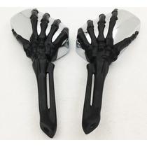 Retrovisor Skull Hand Maos Caveira Motos Universal Metal Pr