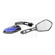 Espelho Retrovisor Esportivo Mini Tubarão Azul Moto Honda