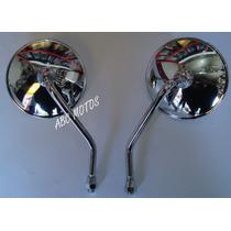 Espelho Retrovisor Cromado Intruder 125 Lente Convexa O Par