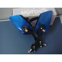 Retrovisor Esportivo P Moto Universal Base Alumínio Azul