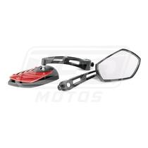 Espelho Retrovisor Vermelho Mini Tubarão Moto Honda Nx 200