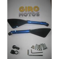 Espelho Retrovisor Esportivo Moto Tomok Aluminium Haste Azul