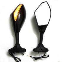 Espelho Retrovisor Com Piscas Em Led Para Moto - Preto