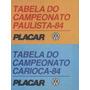Tabela De Bolso Placar Campeonatos Paulista E Carioca De 84
