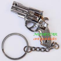 Chaveiro Mini Revolver Em Latão Cromado Envelhecido P/ Chave