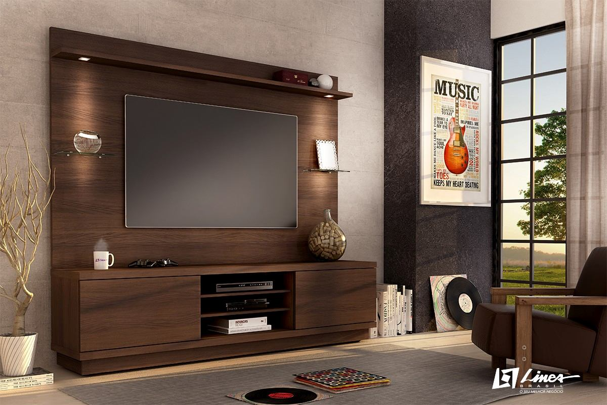 Home Com Painel Sala De Tv ~ Estante Home Chicago Painel Tv Home Theater Chocolate Fosco  R$ 999