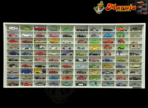 Estante Miniaturas Hot Wheels 100 Nichos ( Mdf Branca )