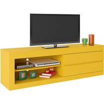 Bancada Suspensa Tv Lcd Led Rack Amarelo Home Painel Estante