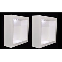2 Nicho Duplo Quadrado Branco Com Led 32x32x10 Mdf - Madeira